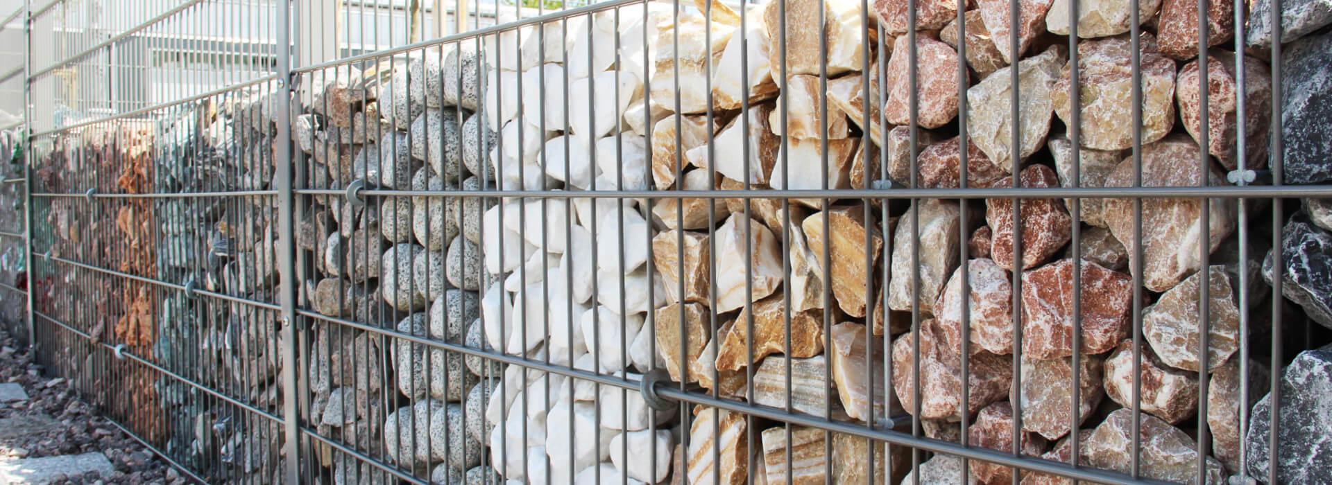 Steine für Gabionen Zaunausstellung